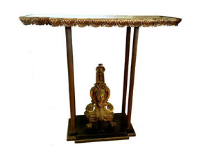 19th Century French Ebonised MOP, Brass and Giltwood Side Table