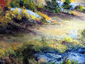 """Panoramic Countryside by E. Benninger """"Across the River"""" 1970's Stratford Kitchener Area image 9"""