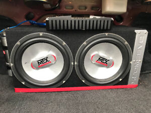 2 MTX 10inch subs in box ,Rockford Fosgate AMP and a cap