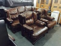 Brown leather 3 11 sofa set in an oak frame