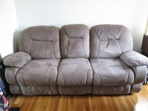 Sable colour couch with built in recliners