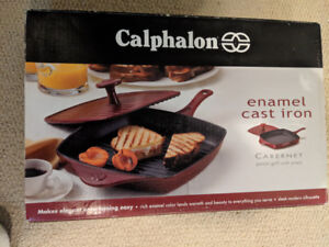 Calphalon Enamel Cast Iron Grill Pan with Panini Press - Red
