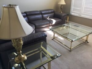 Glass and Brass Coffee Table, 2 end Tables