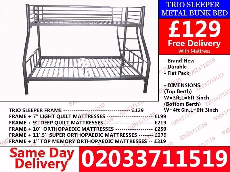 WOW Offer Brand New single and double Trio Bunk BedNorwoodin Stockwell, London - wow today 50%off For Placing An Order Please Call