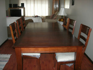 Dining Table with 6 Chairs-Golden, BC-As New Condition