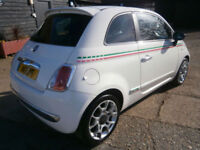 0808 FIAT 500 1.3 MULTI-JET TURBO DIESEL SPORT 82K FSH NOVA WHITE/BLACK LEATHER.