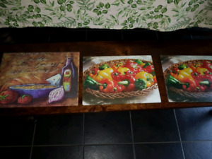 3) GLASS SERVING TRAYS