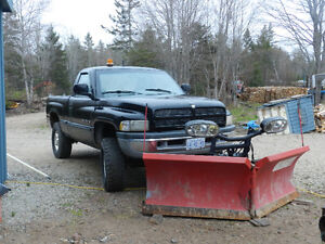 1998 Dodge Power Ram 1500 Pickup Truck with v plow