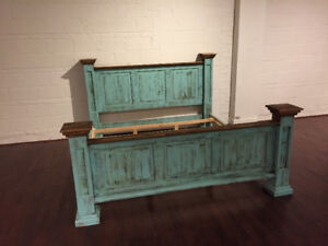 Rustic pine wood King size beds - Rustic Furniture Outlet