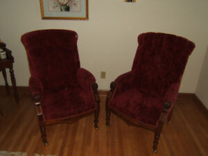 Vintage French Antique carved mahogany high back chairs