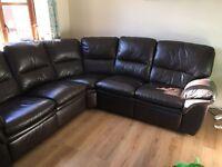 Leather recliner corner sofa