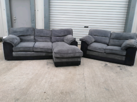Grey fabric Corner + 2 seater sofa couch suite 🚚🚚