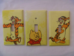 set of 3 WINNIE THE POOH/TIGGER light switch plates