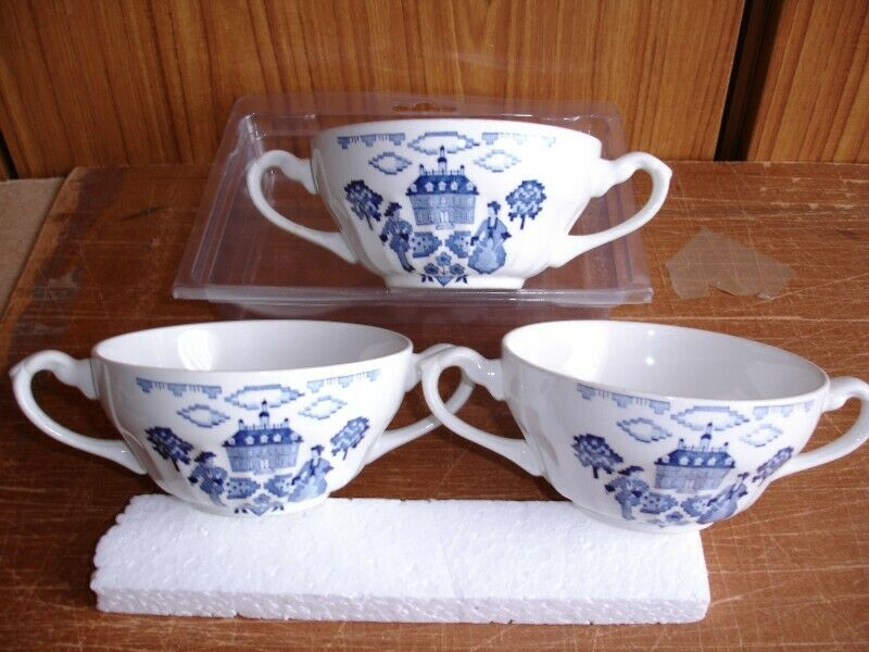 THREE  ROYAL STAFFORDSHIRE SAMPLER IRONSTONE J & G MEAKIN Bowls BLUE & WHITE.
