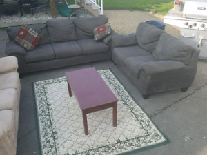 GREY COUCH AND LOVESEAT.  FREE DELIVERY