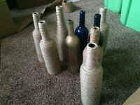 Twine wrapped and painted wine bottles - $20