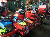 Lots of bicycle shoes