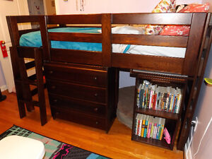 Loft Bed with 4 Drawer Chest and Pull Out Desk
