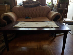 Cherrywood coffee table & retro dining table 2 chairs