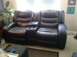 Angus Leather-Look Fabric Reclining Loveseat – Dark Brown