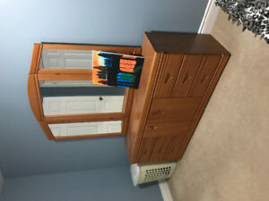 Dresser, mirror, headboard & two night stand tables for sale