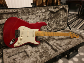 2000 Fender usa Deluxe stratocaster select ash in trans crimson red