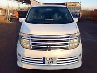 2004/53 NISSAN ELGRAND RIDER S PEARL WHITE,SUEDE LEATHER 8 SEATS