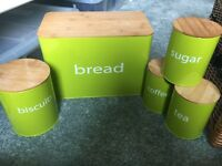 Brand new lime green kitchen canisters