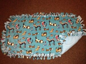 Dog print handmade fleece blanket