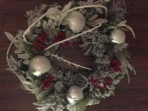 "24"" Designer  Holiday Wreath with Matching Garland"
