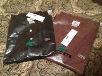 Two Brand New Lacoste Polos - Black (Size 3), Brown (Size 5)