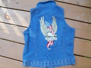 Ladies Harley Davidson Denim Vest --size Medium! Favourite Print
