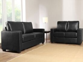 🔰🔰CHEAPEST PRICE 🔰🔰 Box Black Faux Leather 3+2 Seater Sofa Sette - SAME/NEXT DAY DELIVERY