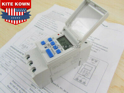 New Digital Lcd Din Programmable Weekly Rail Timer Dc 24v 16a Time Relay Switch