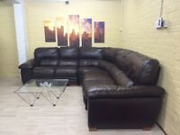 Large Comfy Brown Leather Corner Sofa