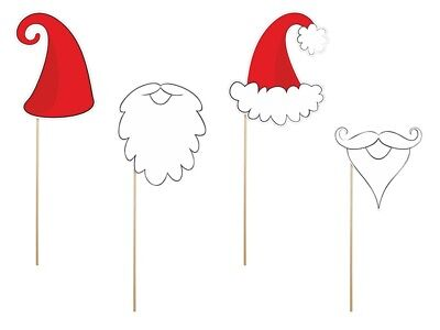 Spaß-Props Weihnachtsmann, 4 St. - für Fotoshooting Weihnachten Weihnachtsparty