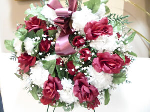 LARGE SILK RED ROSES & WHITE CARNATIONS WREATH FOR A FRONT DOOR