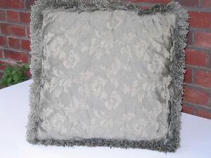 Square High Quality Jacquard Floral Cushion Pillow Sage 17 x 17 Peterborough Peterborough Area image 1