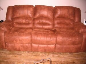 Reclining Couch with Reclining / Rocking Chair Chair  Like New !