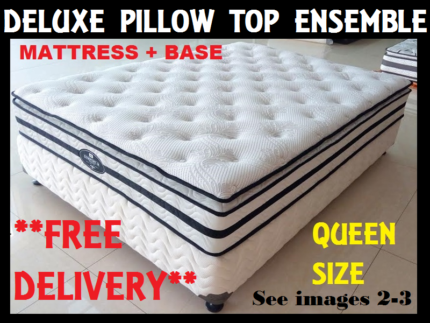 FREE DELIVERY Queen Size Bed Ensemble Pillow Top Mattress + Base