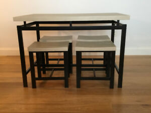5 piece dining set black/grey