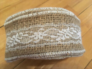 Lace and burlap wedding table runner