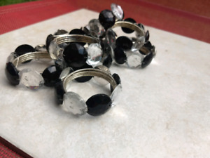 Knapkin Rings. jeweled. Black and silver. Setting for 8