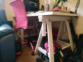 Desk ikea table top and trestles, white