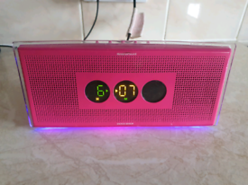 Ministry of sound Alarm Clock radio pink with blue led lights used and