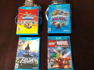 THREE NINTENDO Wii U GAMES LEFT, TWO SKYLANDERS GAMES, LEGO