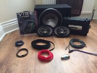 Car speaker system, sub, amp, wiring kit and clarion 6x9 speakers
