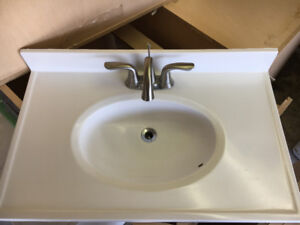 White Porcelain  Bathroom Sink with Pewter Taps