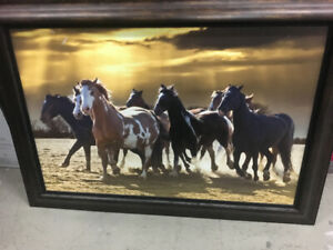 "Professionally framed ""Wild Horses"" canvas $25.00"