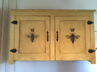 """Hand Painted Vintage Yellow """"Bee"""" cupboard"""